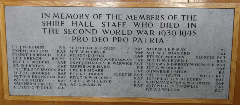 GCC Shire Hall Staff WW2 Memorial